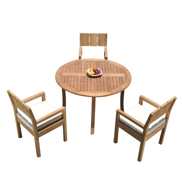 Fuente 4 Piece Teak Dining Set by Rosecliff Heights