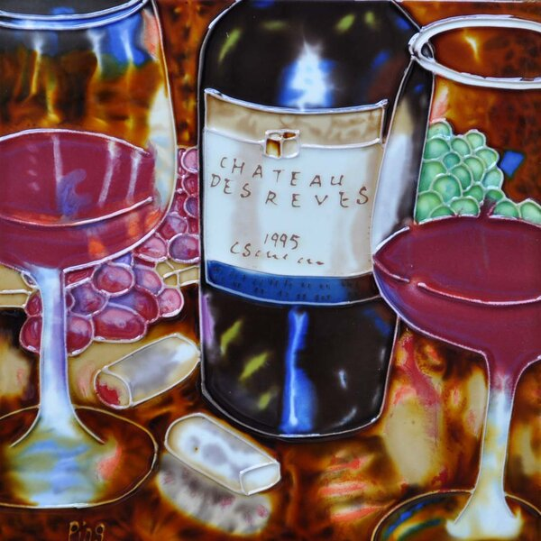 Wine Glasses Purple and Red Tile Wall Decor by Continental Art Center