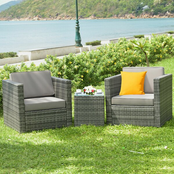 Patio 3 Pieces Rattan Seating Group with Cushions Ebern Designs W002594366
