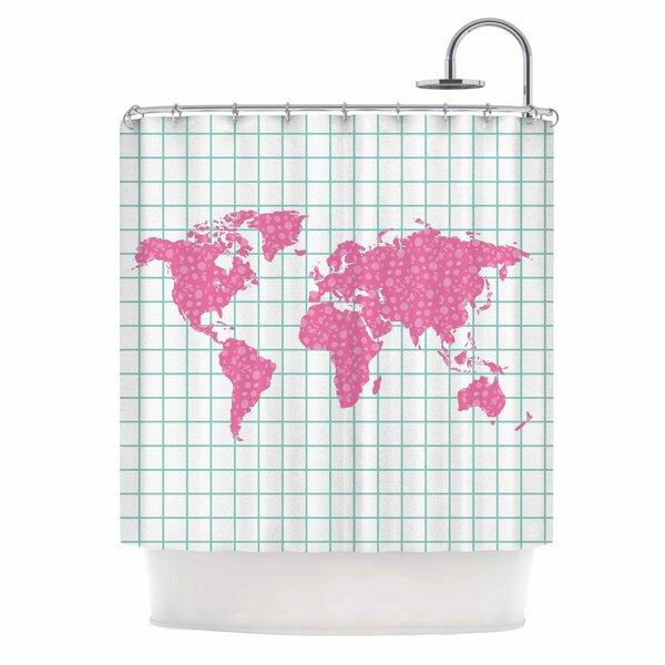 Famenxt Grid Map Mint Shower Curtain by East Urban Home