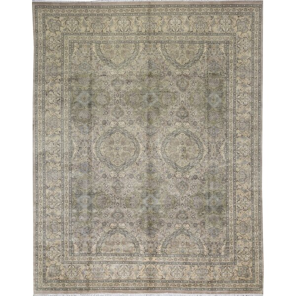 One-of-a-Kind Veg Dye Hand-Knotted Beige 12' x 14'8 Wool Area Rug
