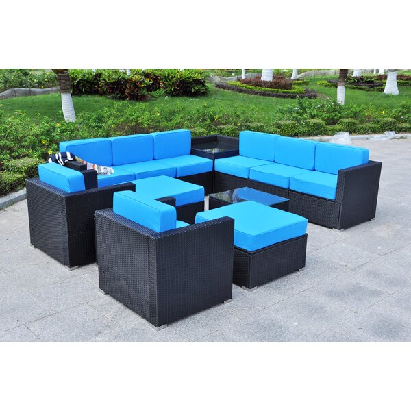 Skegness Outdoor All-Weather 13 Piece Sectional Seating Group with Cushions by Ivy Bronx