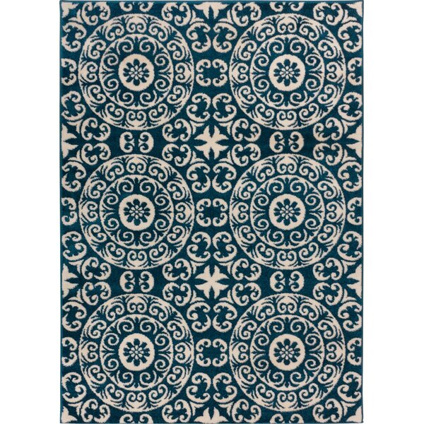 Giles Petra Palatial Navy Blue Area Rug by Charlton Home