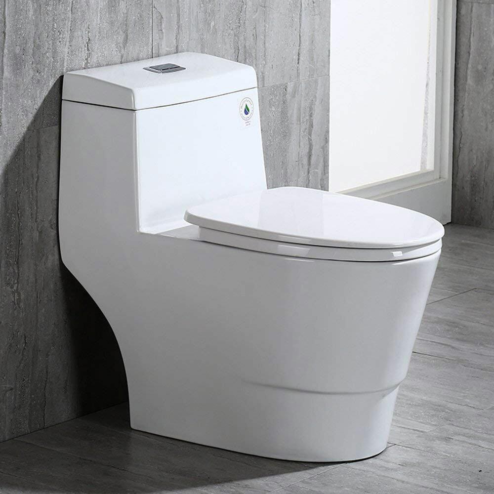 Surprising Dual Flush Elongated One Piece Toilet Seat Included Machost Co Dining Chair Design Ideas Machostcouk