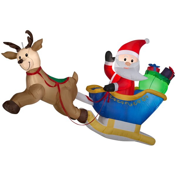 Airblown Hanging Santa and Reindeer Scene Inflatable by The Holiday Aisle