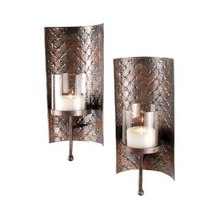 Wall Metal Sconce (Set of 2)  sc 1 st  Wayfair & Metal Candle Sconces Youu0027ll Love | Wayfair