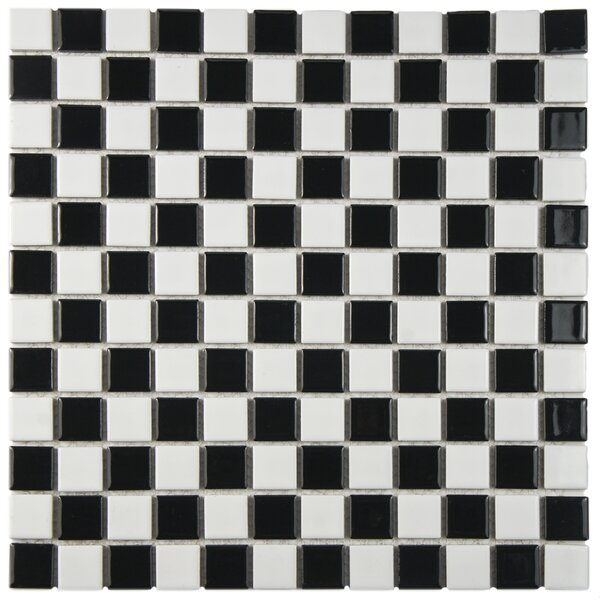 Derecha 1.25 x 1.25 Porcelain Mosaic Tile in Black/White by EliteTile