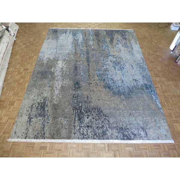 One-of-a-Kind Ziegler Modern Abstract Hand-Knotted Black/Blue Area Rug by Latitude Run