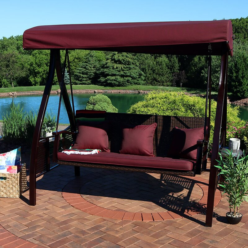 Freeport Park Baylen Steel Frame Cushioned Porch Swing with Stand ...