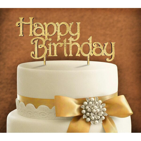 Happy Birthday Wooden Cake Topper by aMonogram Art Unlimited