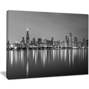 'Chicago Skyline at Night Black and White Cityscape' Photographic Print on Wrapped Canvas by Zipcode Design