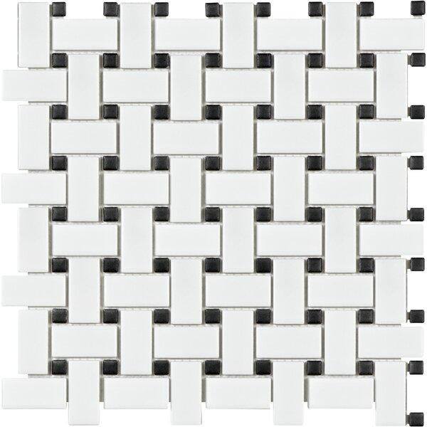 Sail Porcelain Mosaic Tile in Matte White by Parvatile
