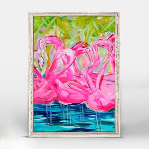 'Flamingos Bright Pink' Framed Print on Canvas by Bay Isle Home