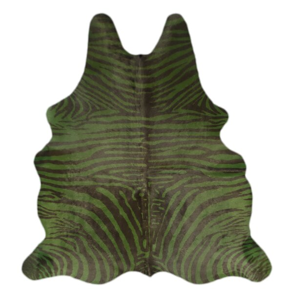 One-of-a-Kind Pankey Zebra Hand-Woven Cowhide Green/Black Area Rug by Bloomsbury Market