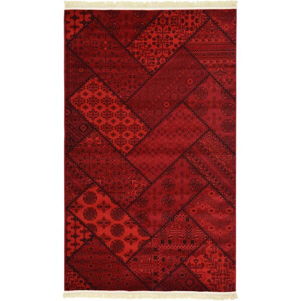 Ivette Traditional Red Area Rug by Bloomsbury Market