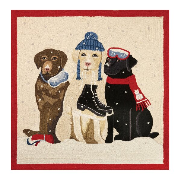 Dogs with Winter Gear Hook Beige/Black Area Rug by Mary Lake Thompson