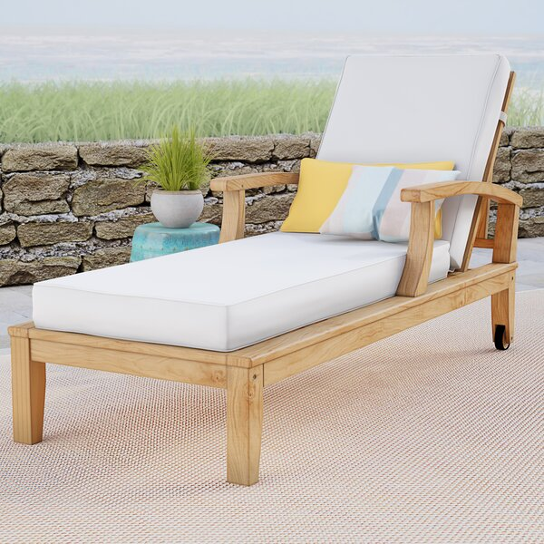 Elaina Reclining Teak Chaise Lounge with Cushion by Beachcrest Home Beachcrest Home