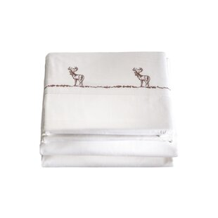 Harrill 4 Piece Embroidered Buck 200 Thread Count 100% Cotton Sheet Set By Loon Peak