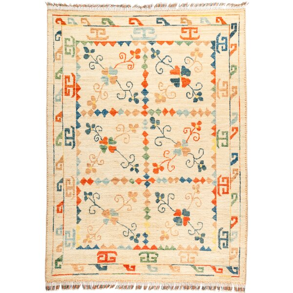 One-of-a-Kind Heiman Hand Knotted Wool Tan/Orange Area Rug by Bloomsbury Market