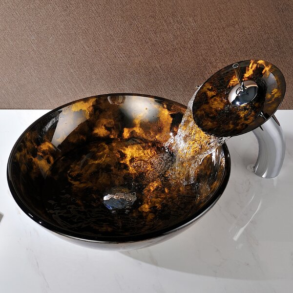 Timbre Glass Circular Vessel Bathroom Sink with Faucet by ANZZI