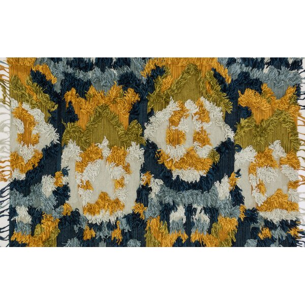Benson Hand-Woven Marine/Gold Area Rug by Foundry Select