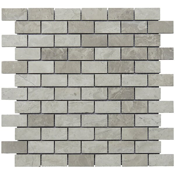 Mini Brick 1 x 2 Limestone Natural Stone Blend Mosaic Tile in Gray by Intrend Tile