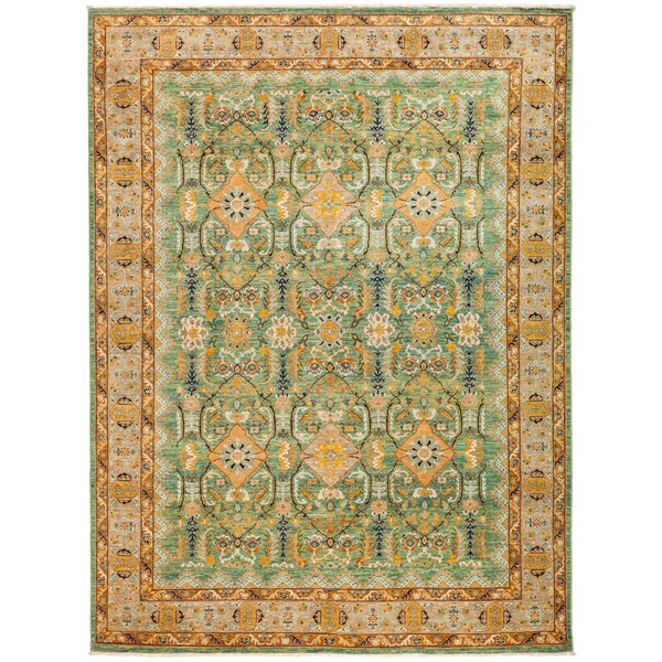 One-of-a-Kind Dexter Hand Knotted Wool Green Area Rug by Isabelline