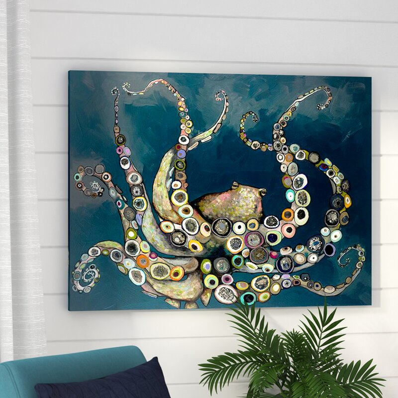 Octopus In The Navy Blue Sea Framed On Canvas Amp Reviews