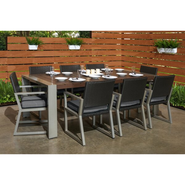 Minor 9 Piece Sunbrella Dining Set with Cushions by Wade Logan