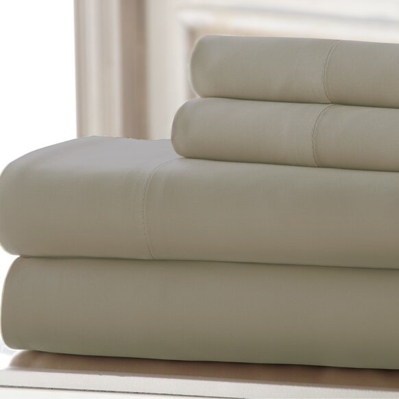 3 Piece 220 Thread Count Rayon from Bamboo Rich Sheet Set by Amrapur Overseas Inc.