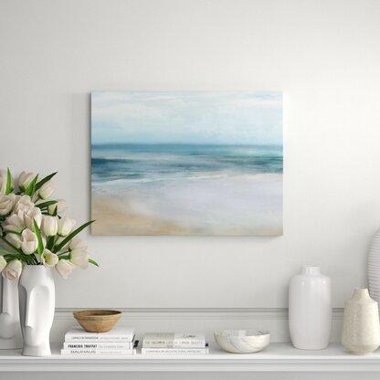 Master Bedroom Coastal Blue Wall Art Ocean Print Beach House Art Interior Home Decor Rocky Shore Yellow Flowers Amalfi Coastal Print