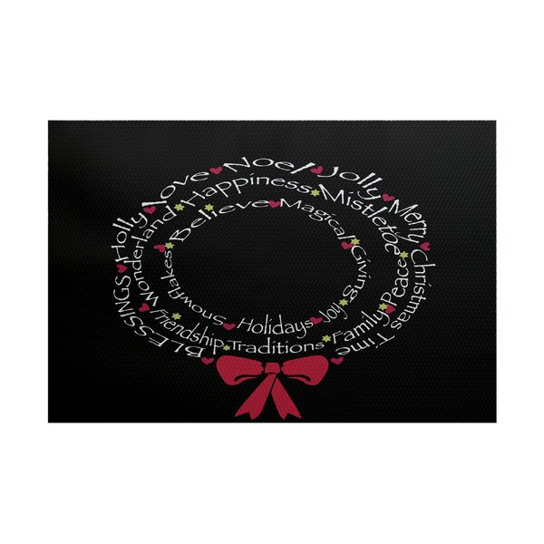 Wreath of Words Print Black Indoor/Outdoor Area Ru
