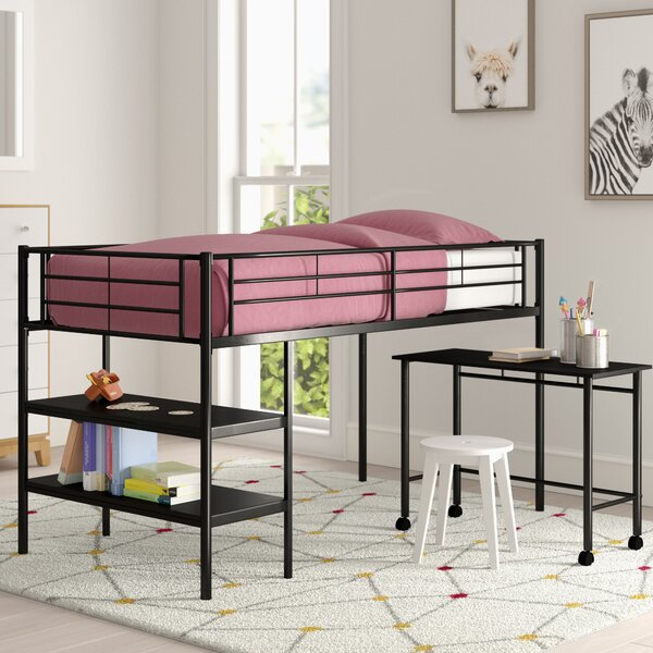 Aglandjia Twin Low Loft Bed with Bookcase by Mack & Milo