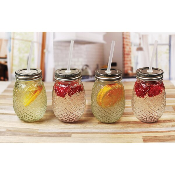 Aberdeen Pineapple 16 oz. Glass Mason Jar (Set of 4) by Bay Isle Home