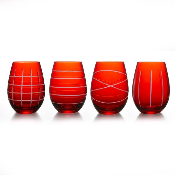 Ariyah Medallion Stemless 17 oz. 4 Piece Drinkware Set by Ivy Bronx
