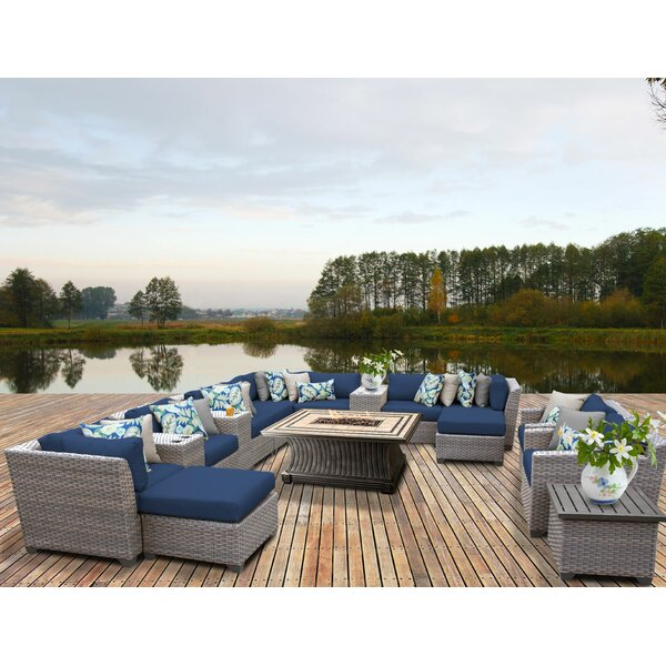Meeks 17 Piece Sectional Seating Group with Cushions by Rosecliff Heights