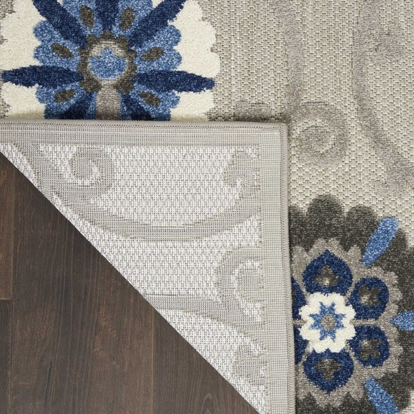 Weon Floral Gray/Blue Indoor / Outdoor Rug