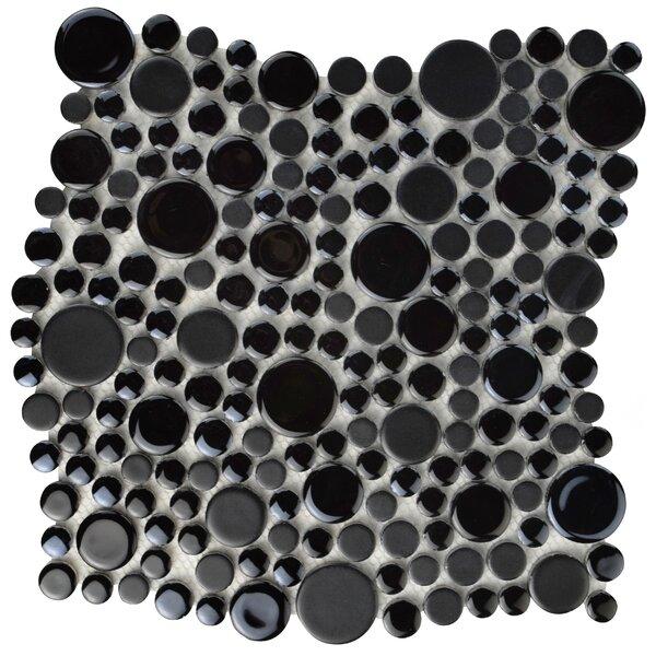 Posh Bubble Random Sized Porcelain Pebble Tile in Black by EliteTile