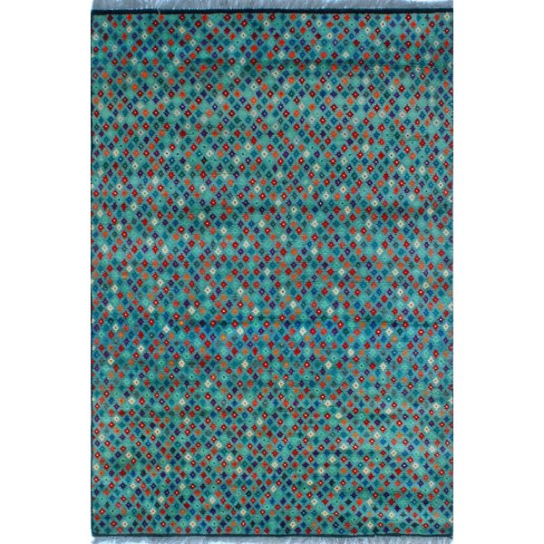One-of-a-Kind Altoona Hand-Knotted Wool Blue Area Rug by Isabelline