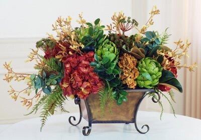 Magnolia Garden Mixed Centerpiece in Planter by Fleur De Lis Living