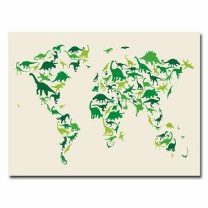 'Dinosaur World Map' by Michael Tompsett Graphic Art on Canvas by Trademark Fine Art