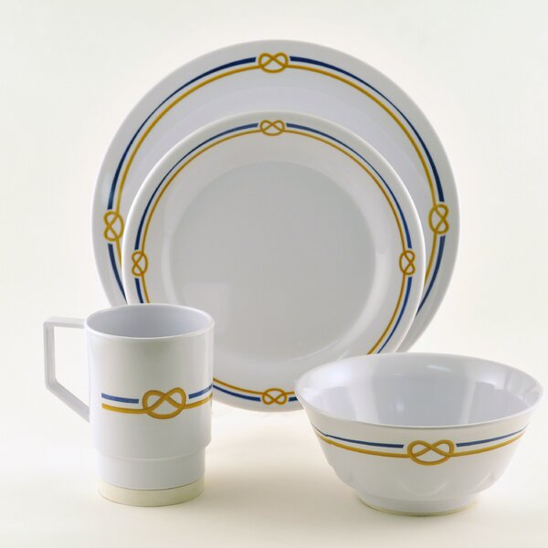 Decorated Rope Melamine 16 Piece Dinnerware Set, Service for 4 by Galleyware Company