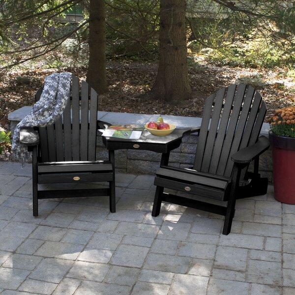 Camacho Wood Folding Adirondack Chair with Table (Set of 3) by Longshore Tides Longshore Tides