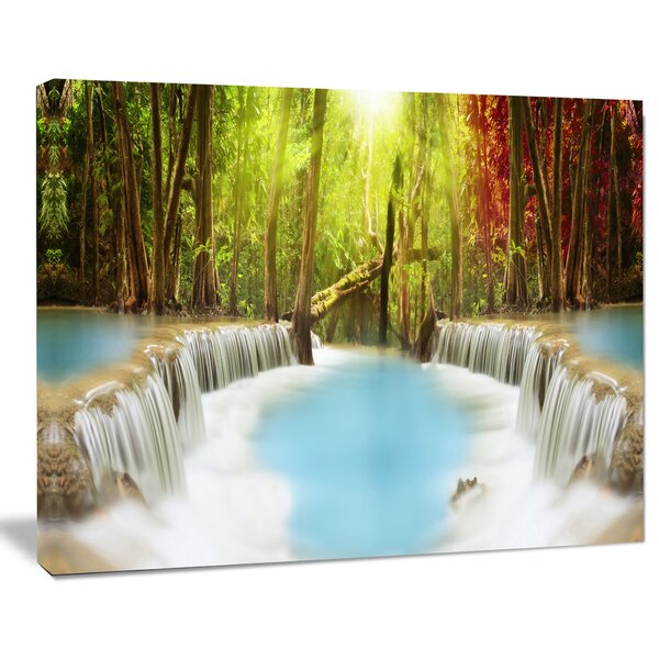 Huai Mae Kamin Waterfall Photographic Print on Wrapped Canvas by Design Art