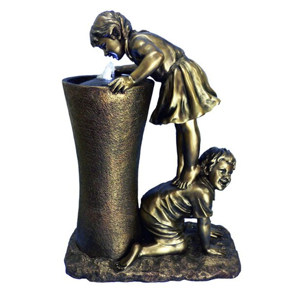 Resin Girl Stands on Boy Fountain by Hi-Line Gift Ltd.