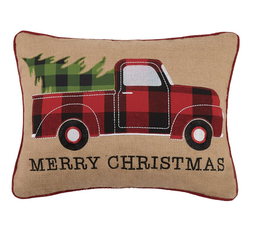 Reginald Tree Truck Cotton Lumbar Pillow