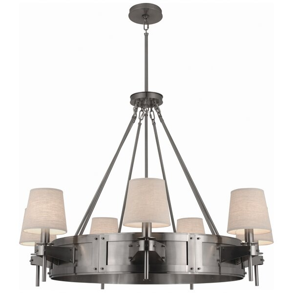 Rico Espinet 7-Light Shaded Wagon Wheel Chandelier By Robert Abbey