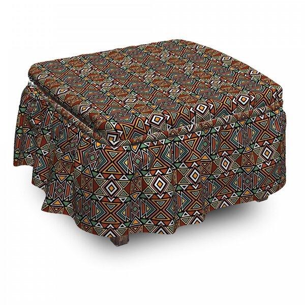 Boho Triangles Ottoman Slipcover (Set Of 2) By East Urban Home