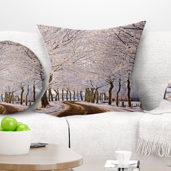 Landscape Printed Trees and Road in Winter Pillow by East Urban Home
