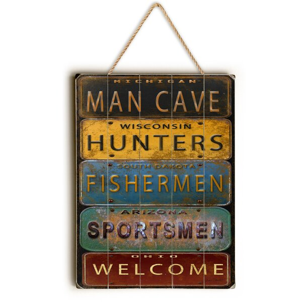 Man Cave License Plate Textual Art by Loon Peak